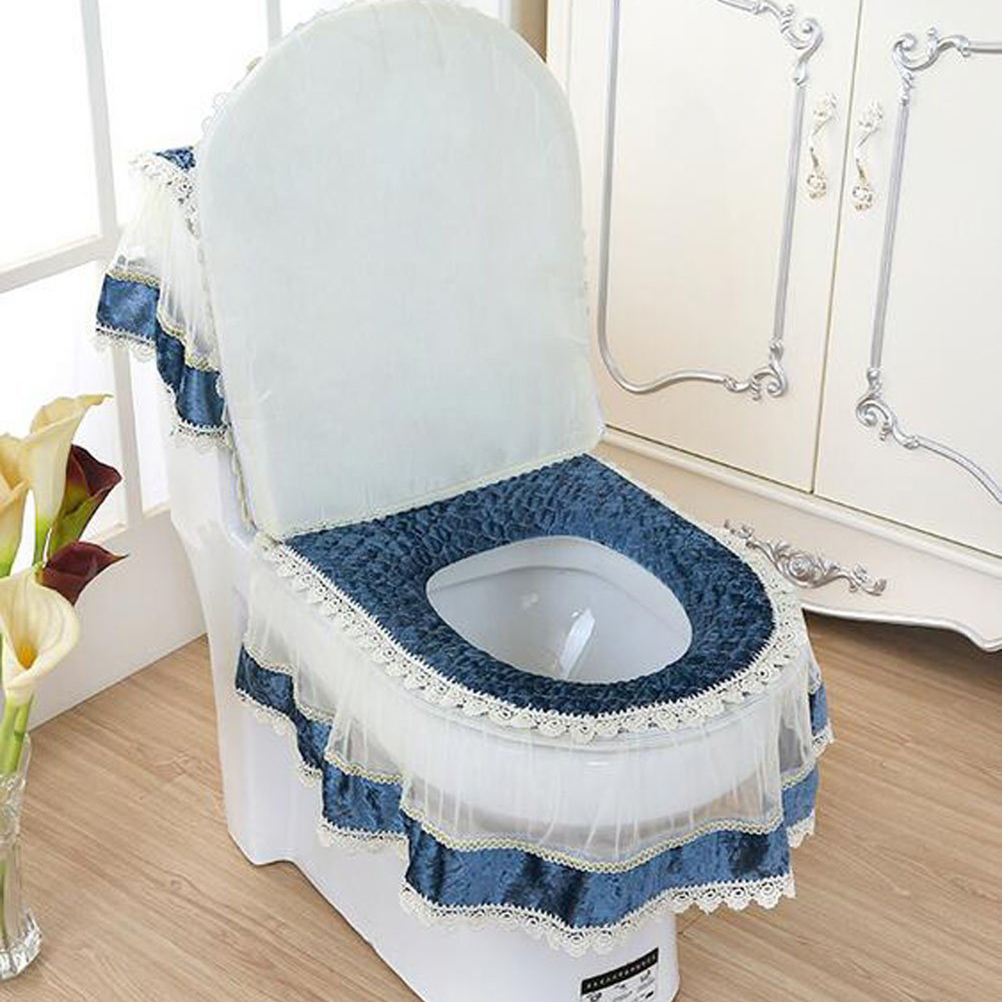 3 Piece European Style Plush Bathroom Toilet Decor Tank