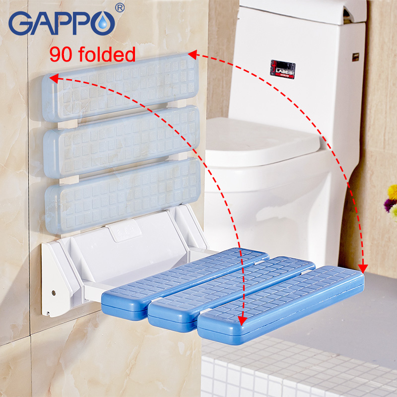 Bathroom Safety & Accessories Gappo Wall Mounted Shower Seats Bathroom Shower Chair Shower Folding Seat Bath Shower Bench Stool Toilet Chair