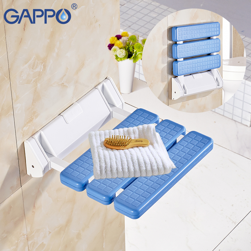 Gappo Wall Mounted Shower Seats Folding Shower Seat Chair Bench Bathroom Toilet Chair Bath Shower Stool Folding Bench Bathroom Fixtures Wall Mounted Shower Seats